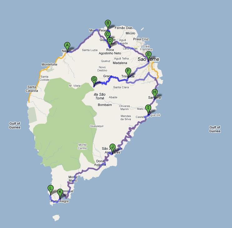 Carte road trip Sao Tomé