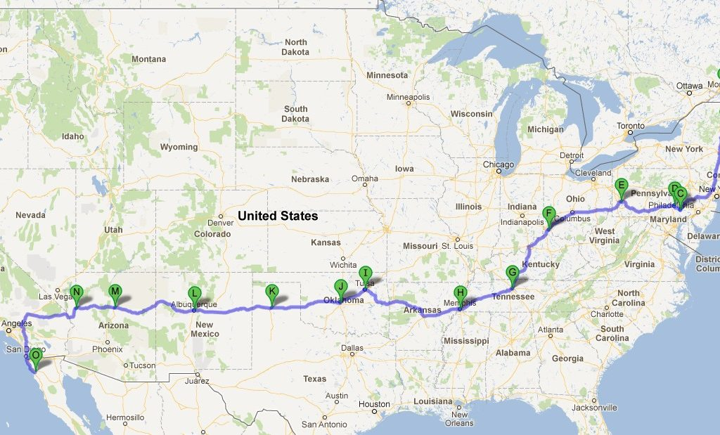 Carte road trip Route 66 - road trip USA