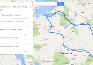 Carte road trip Tanzanie