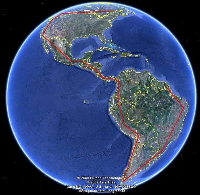 Parcours initial du road trip panaméricain